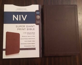 PERSONALIZED ** NIV Super Giant Print Bible - Brown Duotone ** Custom Imprinted