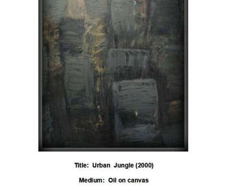 Urban  Jungle (2000)Original, Abstrack, Oil, Large, Painting,Art,black,white