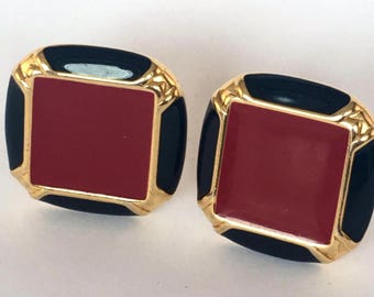 Vintage Monet 1980s black and red statement Enamel gold tone clip earrings