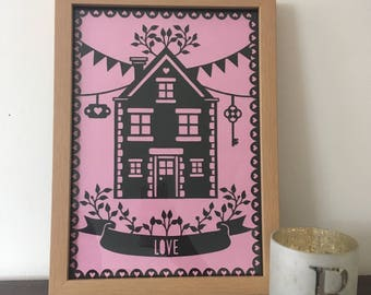 Love Home New Home Papercut Paper Cutting Home Decor