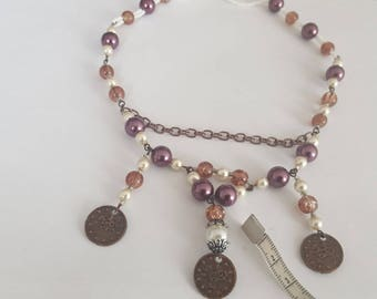 Ethnic necklace, sequins, glass beads