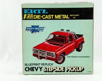 Rare Vintage Ertl Blueprint Replica Chevy Sterpside Pickup 1/25 Diecast Model