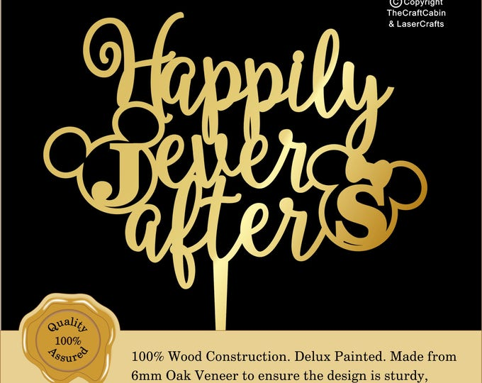 Disney  ''Happily Ever After'' Delux Personalised Cake Topper. Couple, Engagement, Anniversary: Various Colours