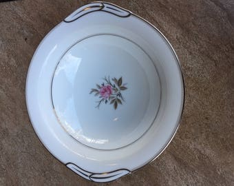 Vintage Noritake Serving Bowl White with Silver Trim and a Pink Rose in the Middle 5794 Japan Roanne