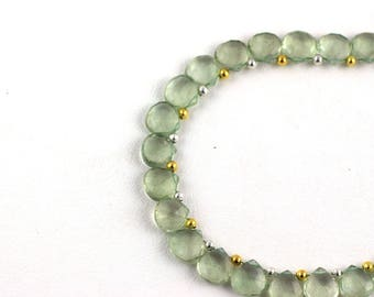 Natural Green Amethyst Beads,Micro Faceted,Heart Shape,10mm Beads, Faceted Beads, 13 Inch Strand, 37 Pieces Approx, AAA Quality, Wholesale