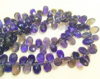 ON SALE -AAA 85ct Natural Iolite 5x7 to 6x8 mm faceted pear Beads,Iolite loose Beads strand, GemStone Necklaces Jewellery.
