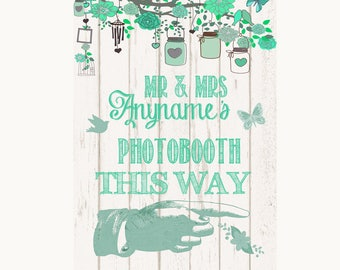 Green Rustic Wood Photobooth This Way Right Personalised Wedding Sign