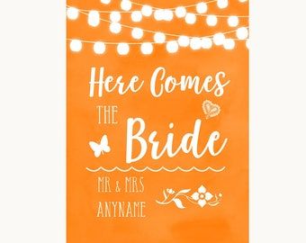 Orange Watercolour Lights Here Comes Bride Aisle Personalised Wedding Sign