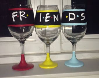 Set of 3 handpainted friends wine glasses