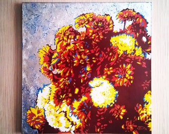 Flowers. Painting on canvas