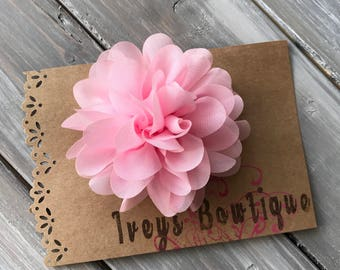 Large light pink chiffon flower hair clip