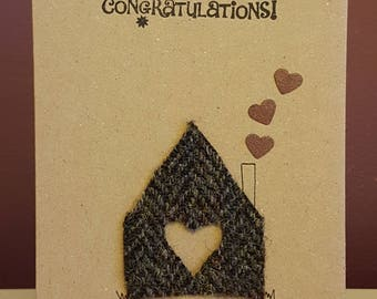 Handmade 'new home' card with Harris Tweed fabric from msjHandmade