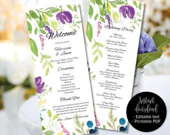 Wedding Day Program Template, Printable Wedding Program, Wedding Order of Service Text Editable PDF, Watercolor Floral Border 9 PROG-9