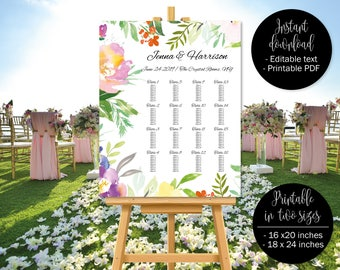 Wedding Seating Plan Printable, Floral Watercolor Wedding Seat Chart Template, Wedding Table Plan Seating Place Chart, Border 7 SEATING-7