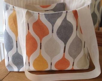 Fabric Tote Bag, Beach Bag, Shopping Bag, Canvas Bag, Daiper Bag Neutral with Bold Print in Orange, Yellow, Blue