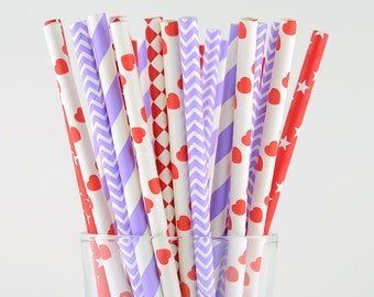 Red/Lavender Mix Paper Straws - Party Decor Supply - Cake Pop Sticks - Party Favor