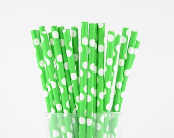 Green Polka Dots Paper Straws - Party Decor Supply - Cake Pop Sticks - Party Favor