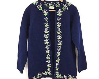 Vintage Embroidered 100% Wool Open Front Cardigan Sweater Size M/L