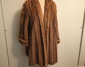 1950s Vintage Bronze Mink Swing Coat Excellent Condition