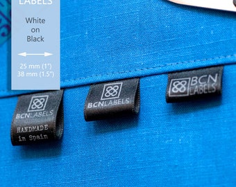Custom Printed 50 pcs White on Black Soft Satin Labels - Sew In