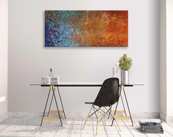 Abstract Canvas Background Orange Blue  Panorama Wall Art Picture Home Decor