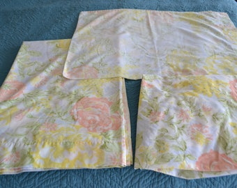 Vintage Twin Sheet Set Floral Yellow Pink White Floral Percale