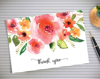 Roses Thank you Card, Floral Thank You card, Wedding Thank You Cards, Thank You Note, Instant Download, Printable PDF, Wedding, Shower
