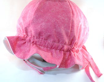 "Cotton ""Grow-with-Me"" Sunhat - Pink Splatter - Adjustable Size - Ruffled Brim - Velcro Chin Strap - 0-3+ Years - Stay-On Hat"