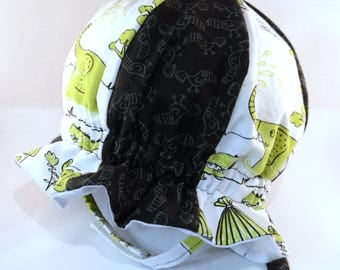 "Cotton ""Grow-with-Me"" Sunhat - Green Safari and Black Toucans - Adjustable Size - Flat Brim - Velcro Chin Strap - 0-3+ Years - Stay-On Hat"