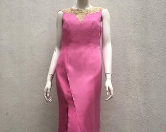 Chiffon Christmas Party Dress, Dinner Dress, Party Dress, Annual Dinner Dress, Designer Dress, Vintage pink chiffon by Keith Kee Couture