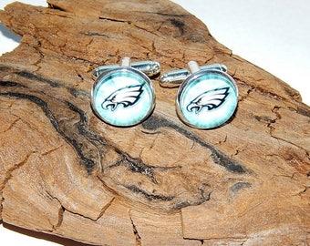 Philadelphia Eagles football logo cufflinks jewelry, Men jewelry, Philadelphia Eagles Fan Art simbol patch, NFL football emblem sports logo