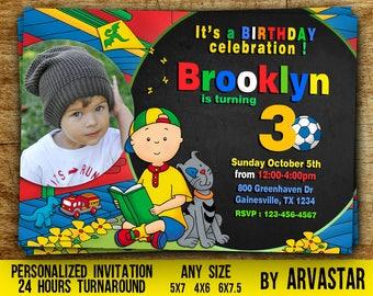 Caillou Birthday Invitation, Caillou Invitation, Digital Caillou Birthday Invitation, Caillou Party , Digital file