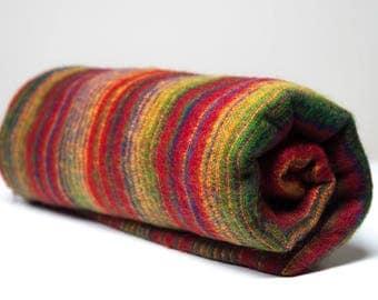 Yak wool blanket/shawl RED/GREEN