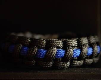 Thin Blue Line Law Enforcement Custom Handmade Support Paracord Bracelet