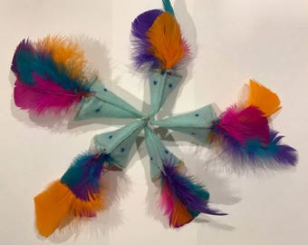 Colorful Feather Haired Pony Catnip Cat Toy - Handmade