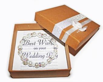 Wedding Best Wishes Pearl Bracelet Gift