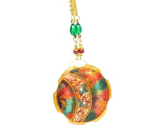 Round polymer clay pendant, multicolor round pendant with red carnelian round beads