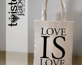 Printed Canvas Shopper Bay - Natural Material - Love Is Love Design Equality Design
