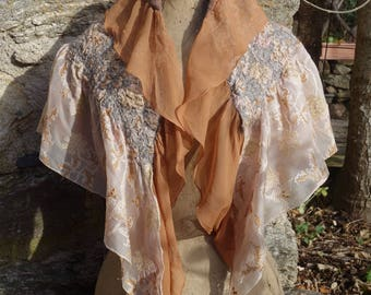 Embroidered and felted silk shawl