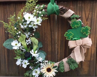 Shamrock wreath; St. Patrick's Day Wreath; St. Patty's decor; Irish Wreath; Spring Wreath;