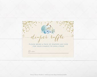Instant Download |Watercolor Pumpkin  Baby Shower Diaper Raffle Card | DIY Printable Digital File | A Little Pumpkin is on the way | DC004