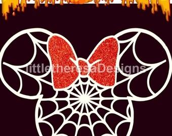 Minnie Spiderweb Halloween Iron On Transfer