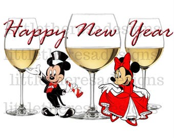 Mickey and Minnie Happy New Year Wine Glass Transfer,Digital Transfer,Digital Iron On,Diy
