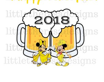 Mickey and Minnie Beer Cup New Year Transfer,Digital Transfer,Digital Iron on,Diy