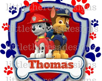 Paw Patrol Birthday Boy Transfers,Digital Transfers,Digital Iron Ons,Diy