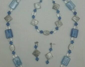 Blue Geometric Jewelry Set