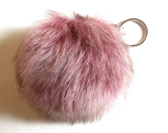 Genuine Fur Pom Pom Charm Bag Accessory Keychain
