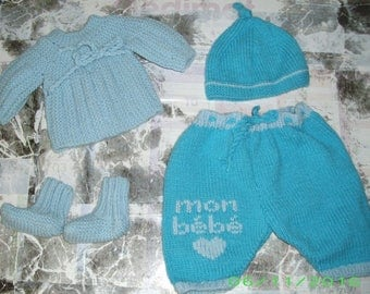 Blue base set for baby Preemie or doll 40 cm