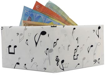 Paper wallet with musical notes