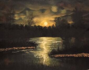 Night by pond